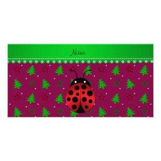 Personalized name ladybug plum trees stars custom photo card