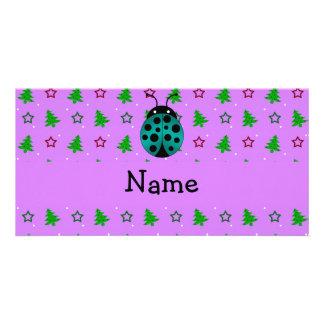 Personalized name ladybug purple christmas trees photo card