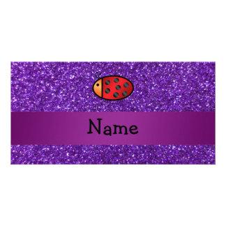 Personalized name ladybug purple glitter photo card template