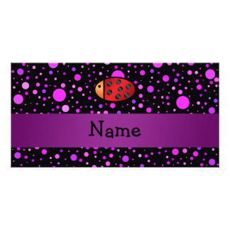 Personalized name ladybug purple polka dots picture card