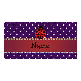 Personalized name ladybug purple polka dots photo card template
