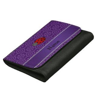 Personalized name ladybug purple retro flowers wallet