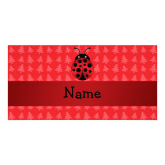 Personalized name ladybug red christmas trees personalized photo card