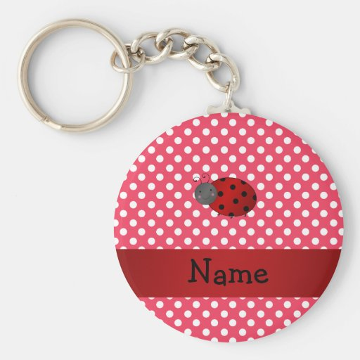 Personalized name ladybug red polka dots keychain