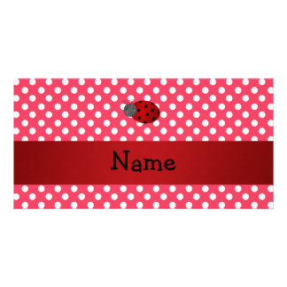 Personalized name ladybug red polka dots picture card