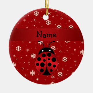 Personalized name ladybug red snowflakes ceramic ornament