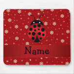 Personalized name ladybug red snowflakes mouse pad
