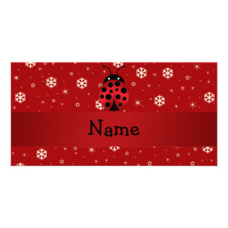 Personalized name ladybug red snowflakes photo cards