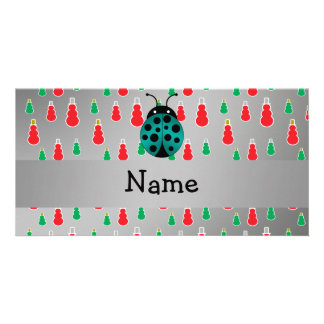 Personalized name ladybug silver snowman custom photo card