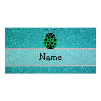 Personalized name ladybug turquoise glitter picture card