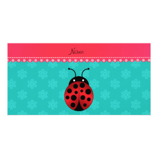 Personalized name ladybug turquoise snowflakes picture card