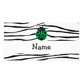 Personalized name ladybug zebra stripes photo greeting card
