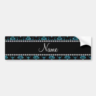 Personalized name light blue damask bumper stickers