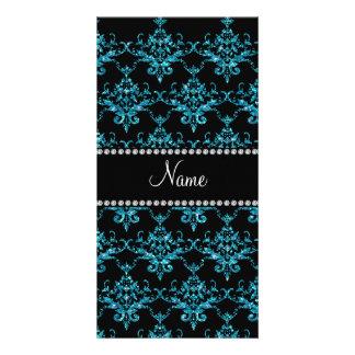 Personalized name light blue damask photo greeting card