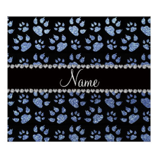Personalized name light blue glitter cat paws poster