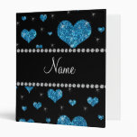 Personalized name light blue glitter hearts