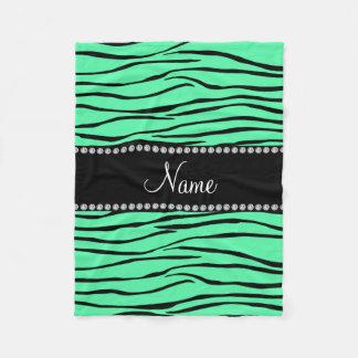 Personalized name light green zebra stripes fleece blanket