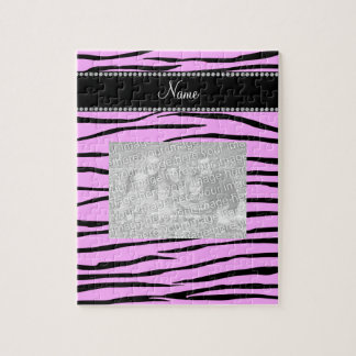 Personalized name Light pink zebra stripes Jigsaw Puzzle