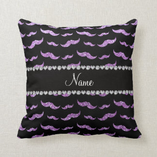 Personalized name light purple glitter mustaches pillows