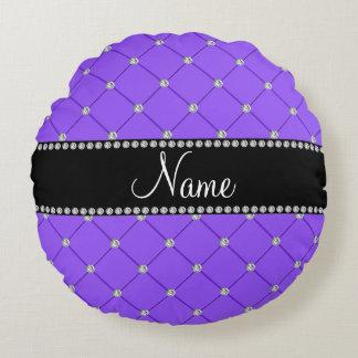 Personalized name Light purple tuft diamonds Round Pillow