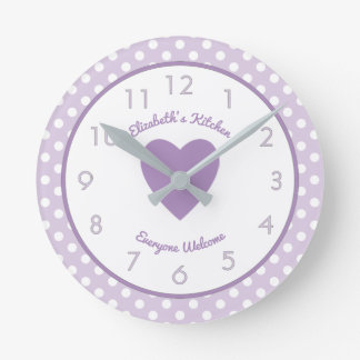 Personalized name Lilac and white Polka Dots Round Clock