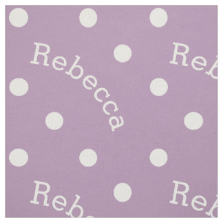 Personalized Name Lilac Lavender Purple Polka Dot Fabric