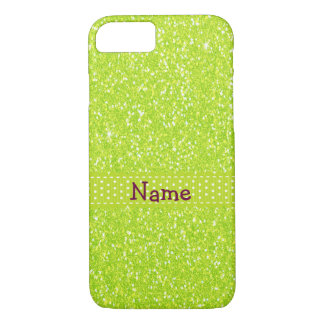 Personalized Name Lime Green Glitter Effect Bling iPhone 8/7 Case
