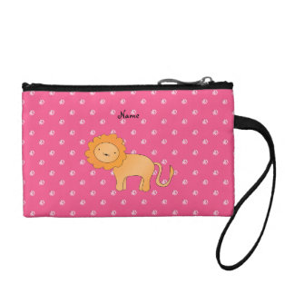 Personalized name lion pink diamonds coin purse