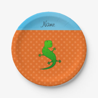 Personalized name lizard orange polka dots paper plate