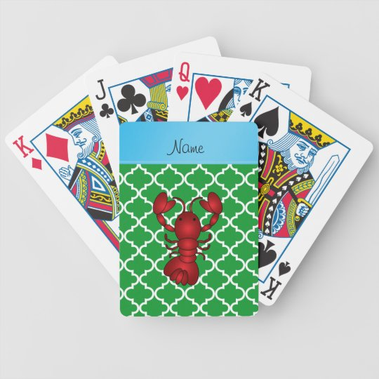 Personalized name lobster green moroccan bicycle playing cards