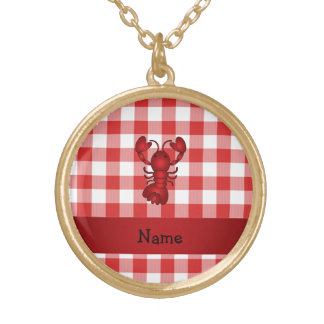 Personalized name lobster red picnic checkers pendants