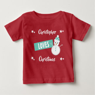 Personalized name Loves Christmas snowman Baby T-Shirt