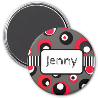Personalized Name Magnet Red and Black Dots