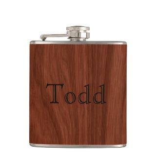 Personalized Name | Mahogany Woodgrain Pattern Hip Flask