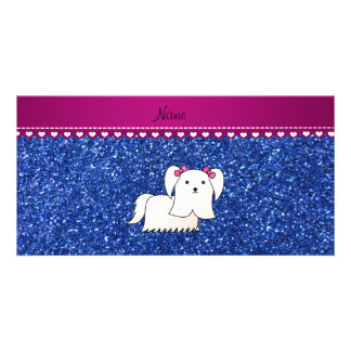 Personalized name maltese blue glitter photo cards