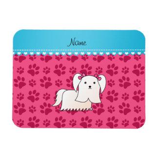 Personalized name maltese pink dog paws rectangular photo magnet
