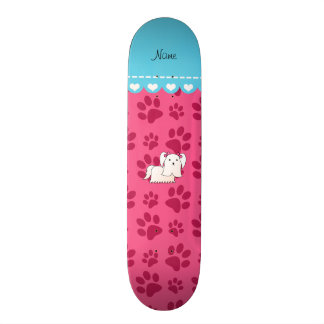 Personalized name maltese pink dog paws skate decks