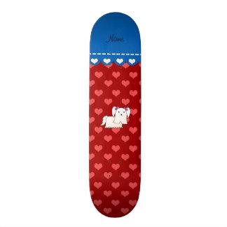 Personalized name maltese red hearts skate board decks