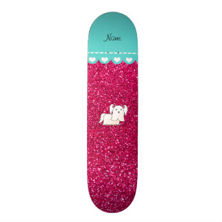 Personalized name maltese rose pink glitter skateboard deck