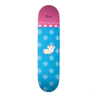 Personalized name maltese sky blue flowers custom skate board