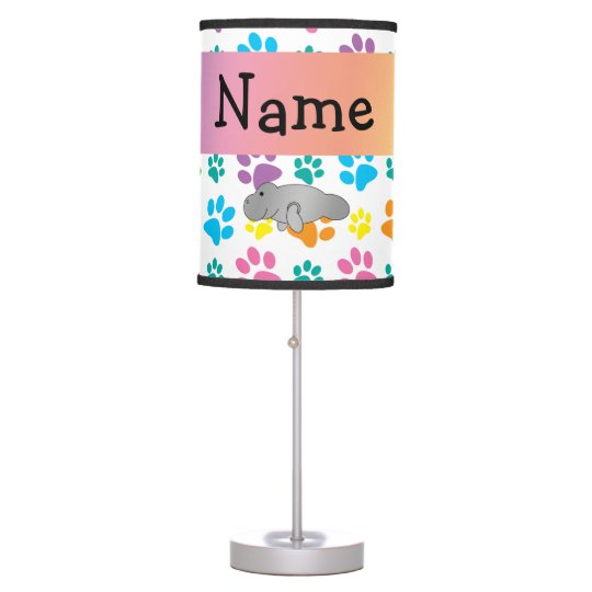 Personalized name manatee rainbow paws table lamp