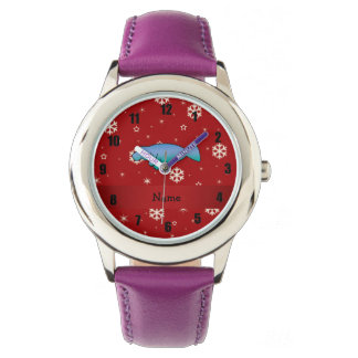 Personalized name manatee red snowflakes watch