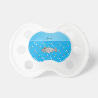 Personalized name manatee sky blue candy canes baby pacifiers