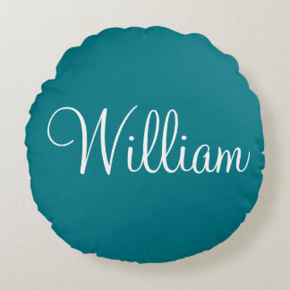 Personalized Name medium Blue solid plain color Round Pillow