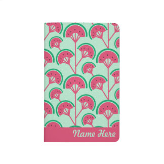 Personalized Name Melon Fleur Fan Pattern Journal