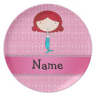 Personalized name mermaid pink bubbles plate