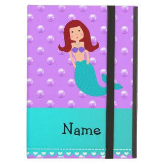 Personalized name mermaid purple pearls iPad air cover