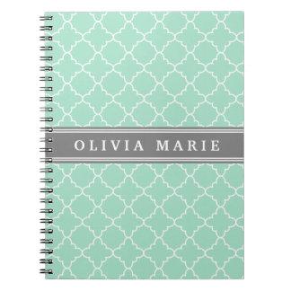 Personalized Name Mint Lattice Pattern Note Books