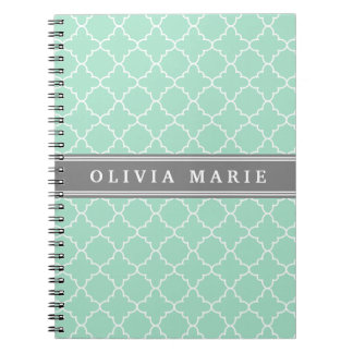 Personalized Name Mint Lattice Pattern Notebooks