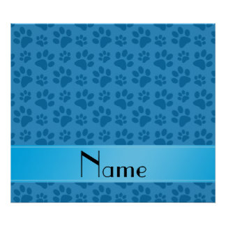 Personalized name misty blue dog paws poster